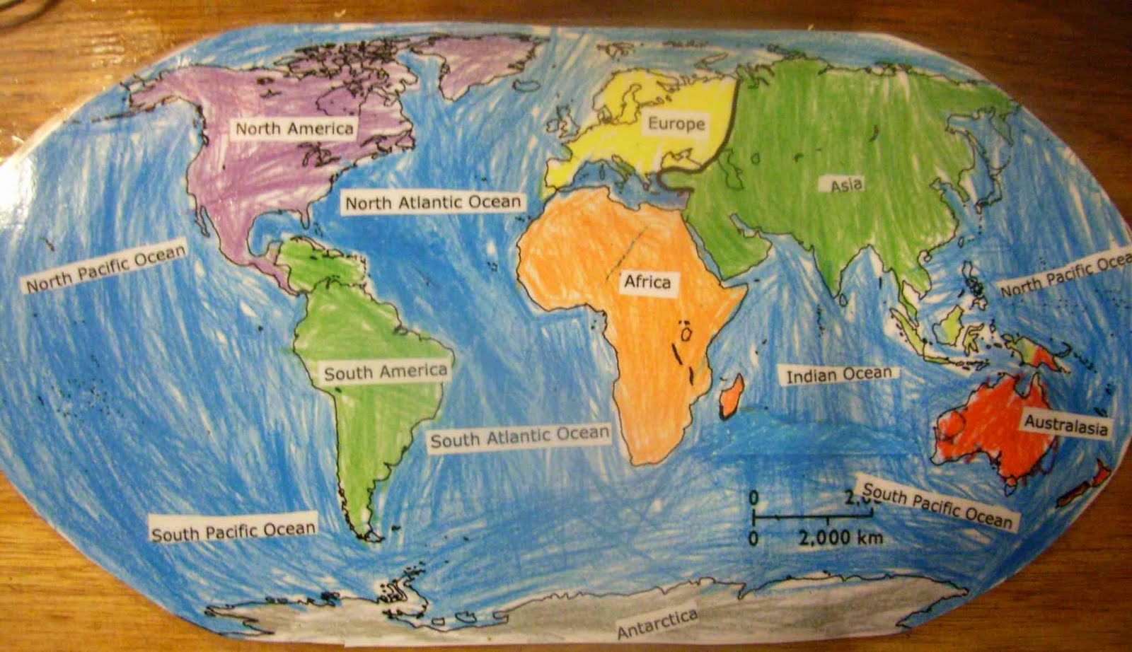 Room 2 2010 june 2010 friday with ms gain jaspers world map showing the continents and major oceans gumiabroncs Choice Image