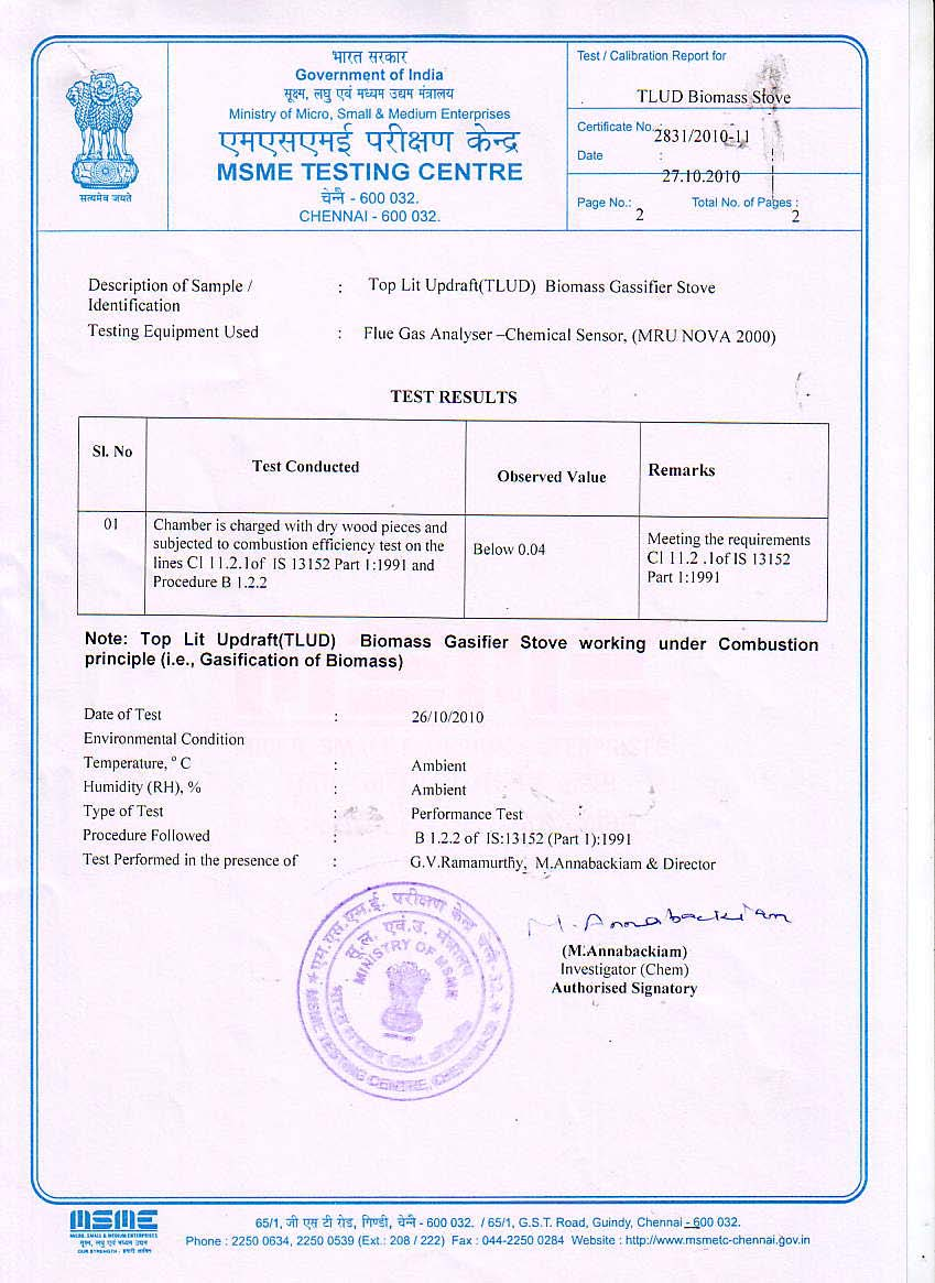 Servals automation pvt ltd tlud gasifier stoves a wood stove the certificate certifies that the coco2 ratio is less than 004 in the combustion gases leaving the stove which means a clean combustion and xflitez Image collections