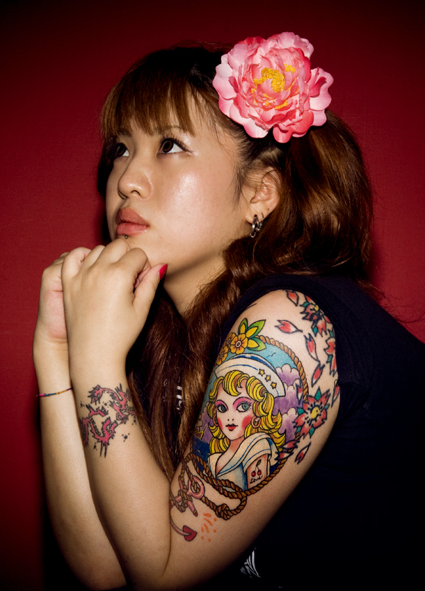 sexy girl with japanese tattoo on arm tattoo picture