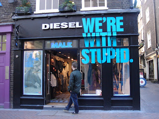 Diesel's store for males on Carnaby Street, London.  Photo by Lucia Carpio