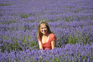 Lucia Carpio in the Mayfield Lavender farm in Surrey.  Photo by Alan Tyler.