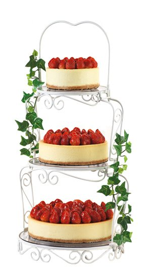 Another great three tier cheesecake wedding cake with strawberries on ca