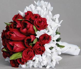 Bouquet bridal red roses and small white flowers bouquet mightylinksfo