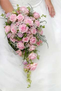 Alhamdulillah bejo: Pink Roses and Baby\'s Breath Wedding Bouquets