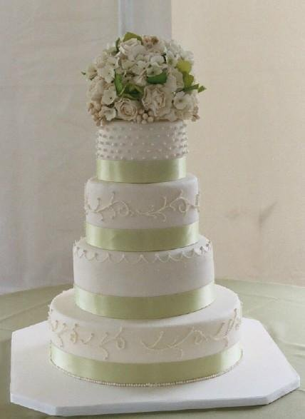 Wedding Cakes Pictures Round Wedding Cakes With Green Trim