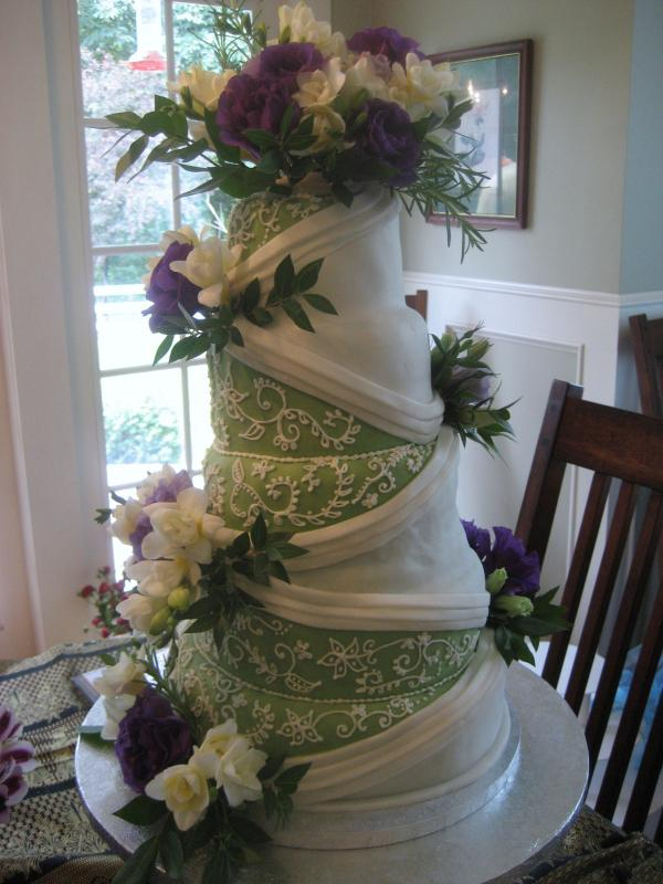 White And Green Wedding Cakes