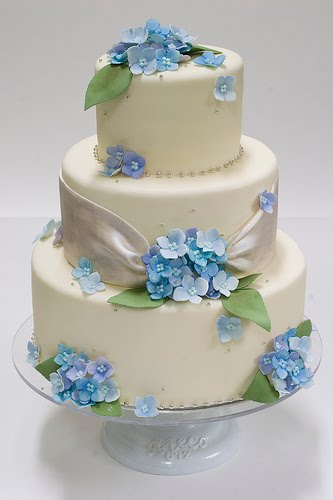 Lovely three tier white wedding cake with sugar hydrangea flowers and green