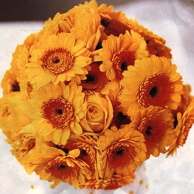 Orange gerbera daisy wedding bouquet with green foliage