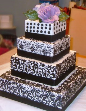 Simple Paisley Pattern  Tiered Cake