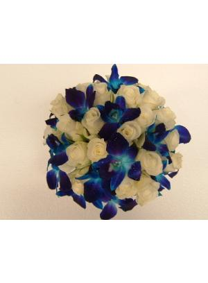 White Flower on Bouquet Bridal  Blue Orchid Bouquets