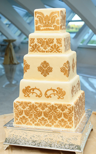 Yellow Damask Wedding Cakes