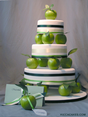 World Wide Wedding and Birthday cakes Green apple and pear modern