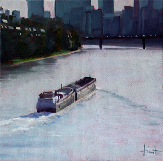 Barge in Paris by Liza Hirst