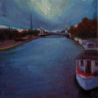 The Seine at Dusk by Liza Hirst