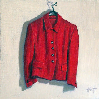 My Things, Red Bouclé Jacket by Liza Hirst