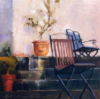 On the Garden Stairs by Liza Hirst