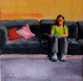 Pam on the Sofa by Liza Hirst