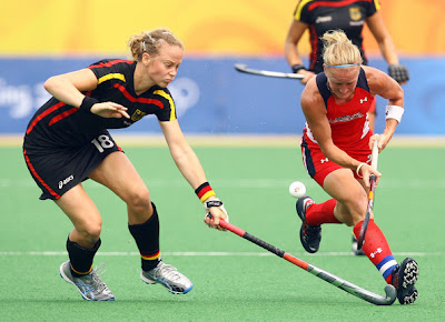 Kate Barber of the United States handles the  ball against Anke Kuhn Video Clip Pic