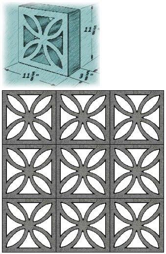 Architectural Screen Blocks : Thuydao arch mid century decorative concrete screen block