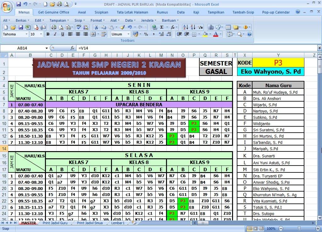 Kolom Bahasa Tip Trik Klik Excel Program Jadwal Pelajaran