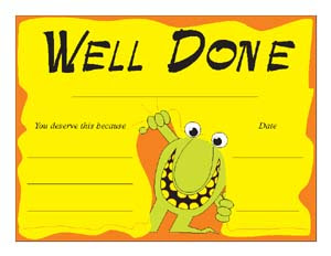 Printable certificates welldone printable certificate at last you have finished all your job welldone yadclub Choice Image
