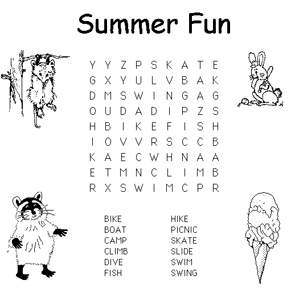 Summer Word Search Pages