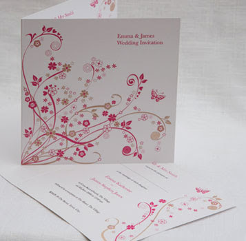 flower ornamental wedding invitations