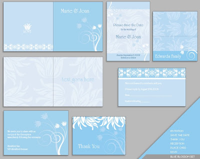 Light Blue Complete Wedding Invitations Cards