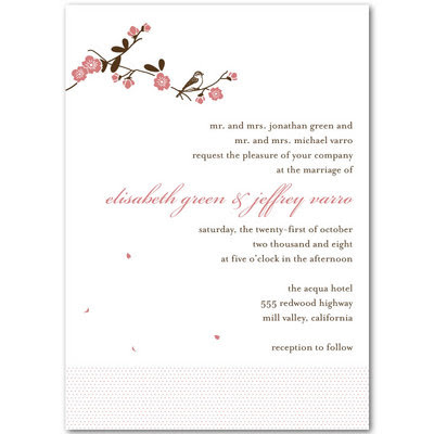 Casual White Wedding Invitations With Flower Ornaments