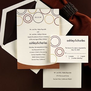 Elegant Brown Wedding Invitations With Circle Ornaments