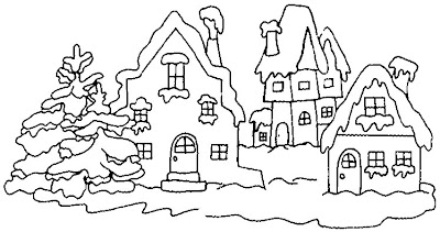 snow coloring pages house