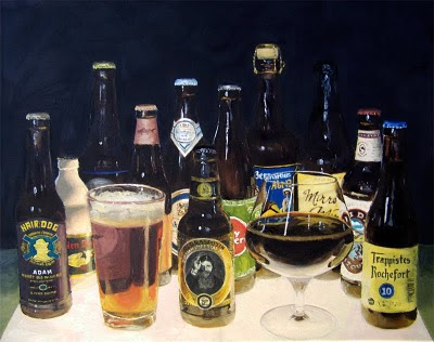 beer still-life oil painting hair of the dog dogfish head old rasputin gulden draak mirror mirror deschutes