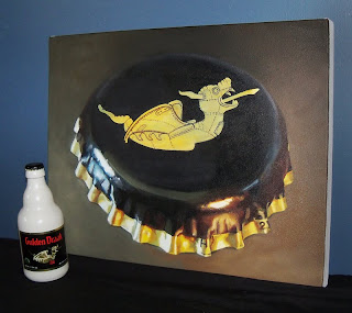 gulden draak beer painting and bottle