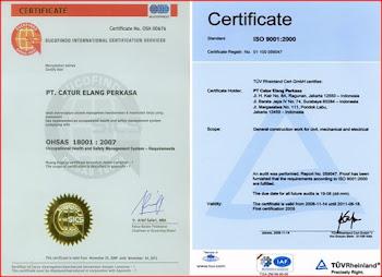 Sertifikat OHSAS 18001 & ISO 9001