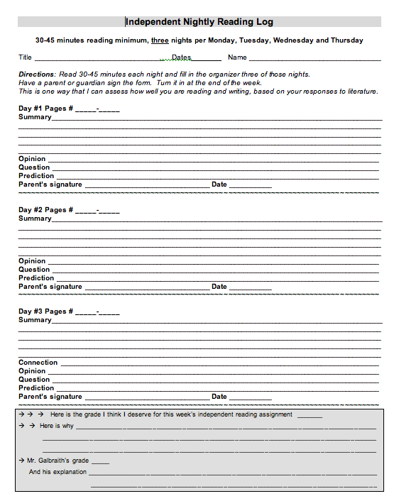 reading log for high school students template - we are the people we have been waiting for class of 2014
