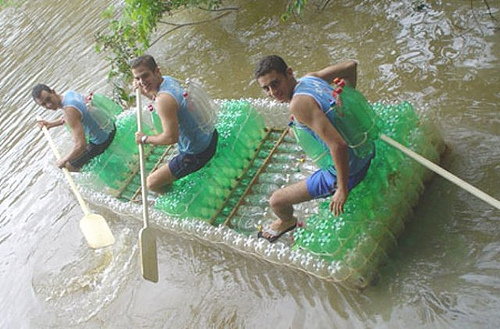 Boat Made Out of Bottles