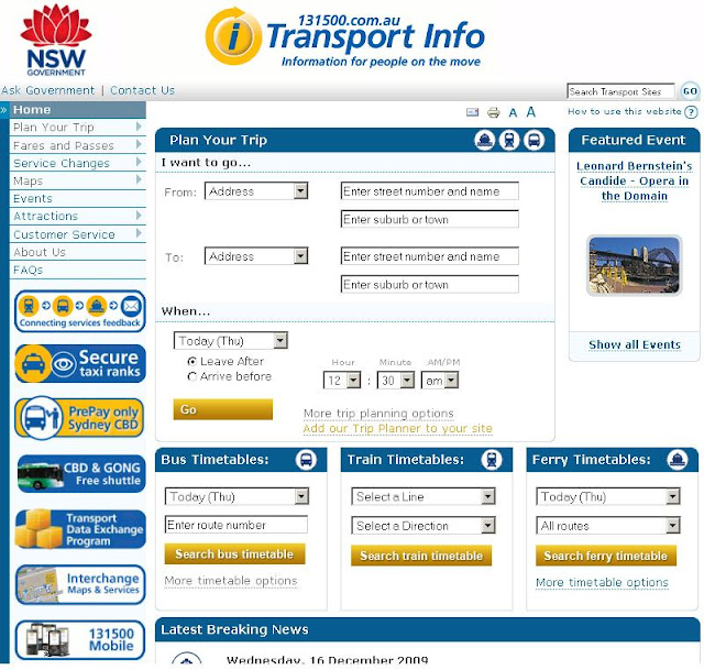 NSW Public Transport Trip Planner, Maps &amp; TimeTables - www.131500.com.au