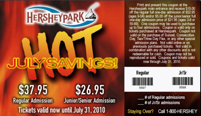 Hershey park parking discount coupon