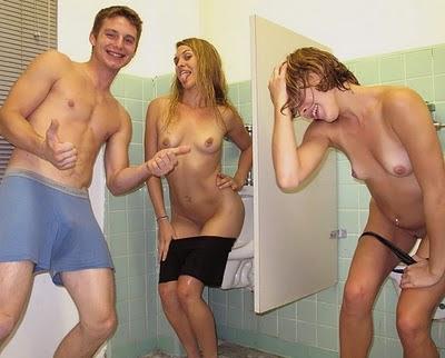 Three guys fucking girl with dildo