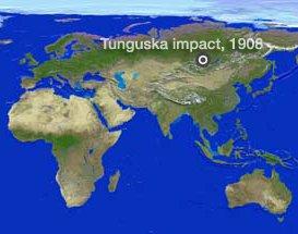 Le saviez-vous?L'explosion mystérieuse en Tunguska, 1908 Localisation-impact-tunguska