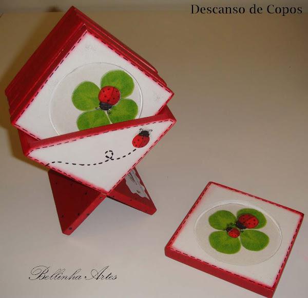 Descanso de copos (joaninha) c/6 - R$ 20,00