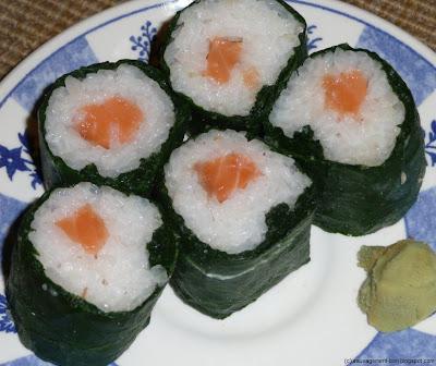 Makis sushi en feuilles de consoude