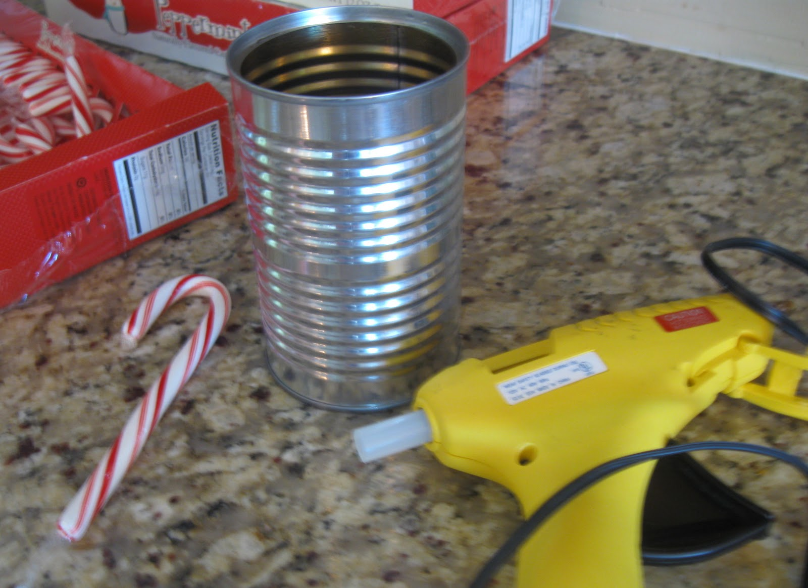for this diy candy cane vase project you need an empty aluminum can