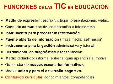 Funciones de las Nuevas Tecnologías en Educación