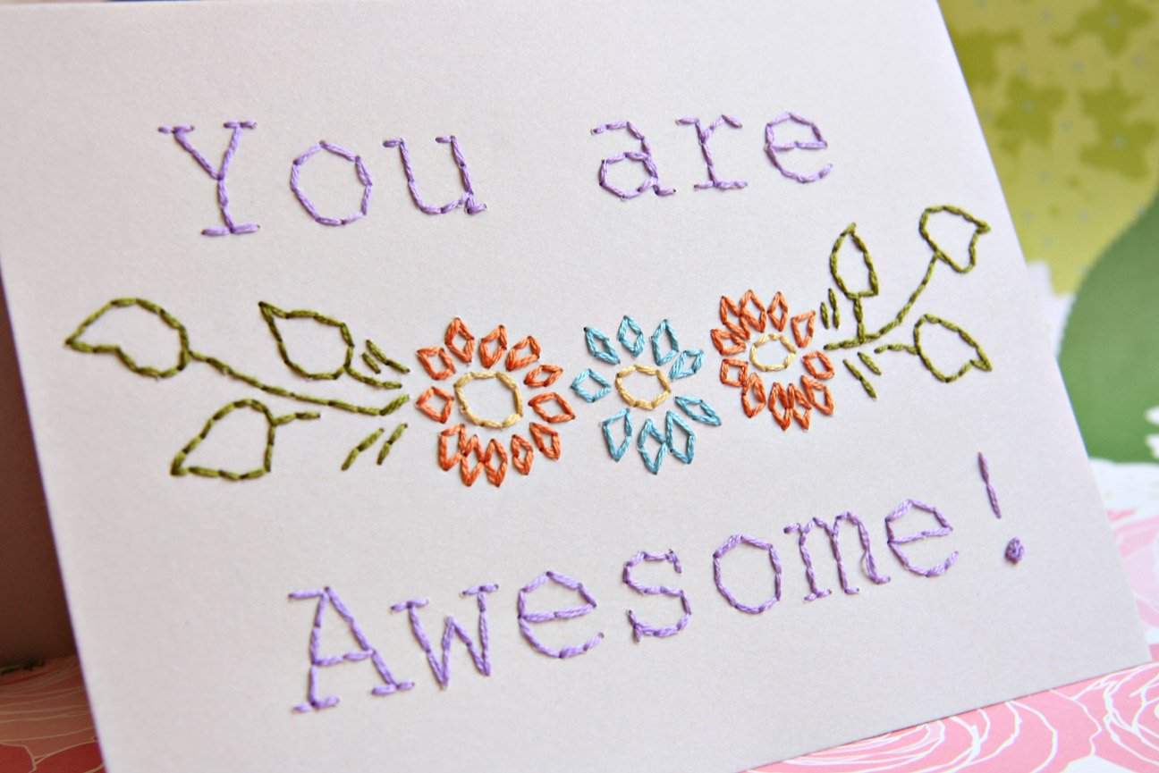 Crooked sister embroidered greeting card diy