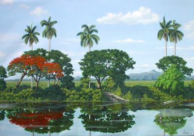 paisaje tipico cubano al oleo