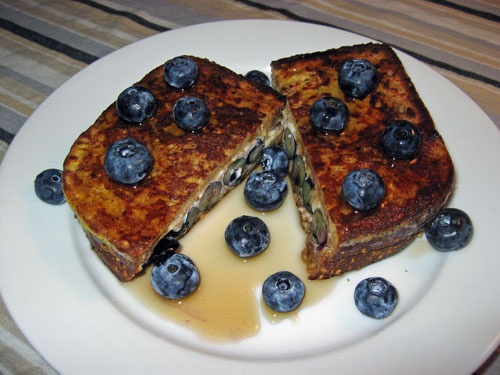French Toast Stuffed with Blueberries and Cream Cheese