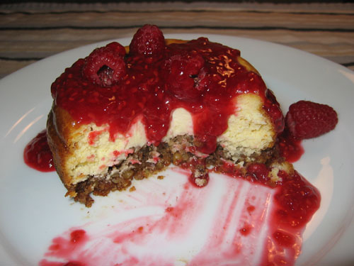 White Chocolate Cheesecake with Blueberry Sauce (cut)