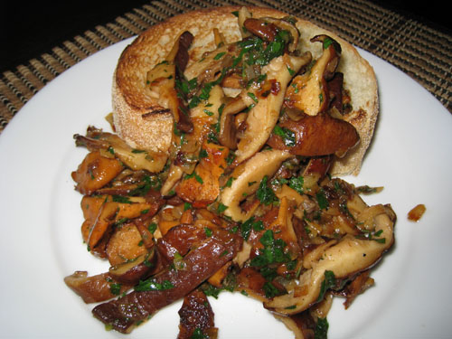 Wild Mushrooms Sauteed in Butter, Sherry and Lemon