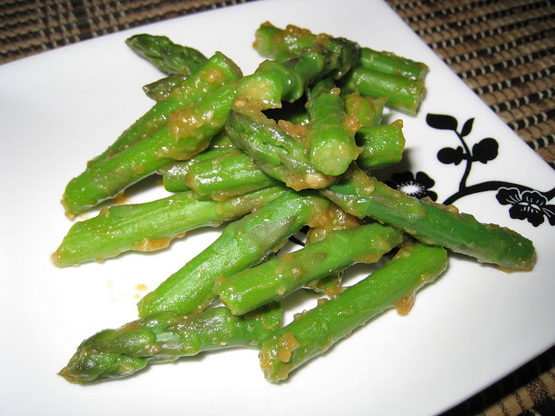 Asparagus with Miso and Mustard Sauce